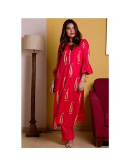 Red Hand Block Printed Kurta Pant Set