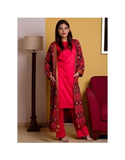 Red Kurta Palazzo Set with Printed Jacket