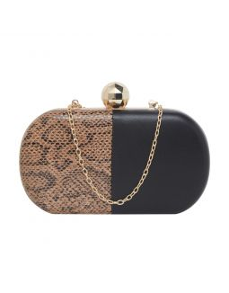 Black with Gold Printed Clutch