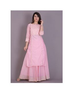 Babu Pink Gota Kurta with Flared Skirt