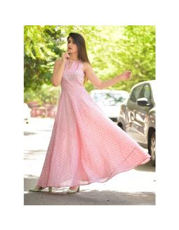 Peach Block Print Maxi Dress