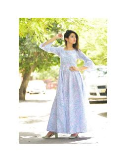 Bell Sleeves White Perint Dress