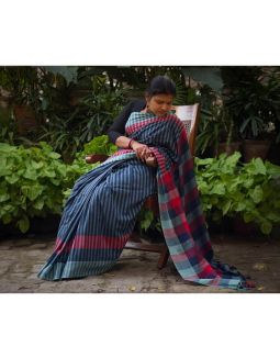 Blue and Red Checkered Cotton Saree