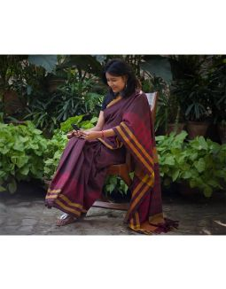 Chocolate Brown and Maroon Saree