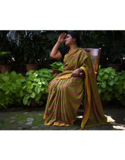 Green Cotton Saree with Yellow Border
