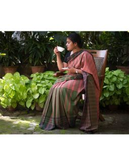 Green and Coral Pink Cotton Saree