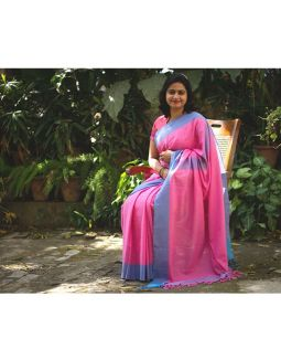 Pink and Blue Cotton Saree