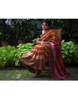 Bright Yellow and Maroon Saree