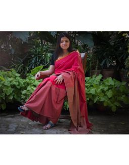 Red and Earth Brown Saree