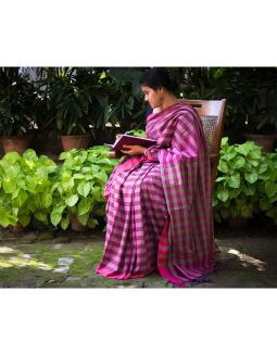 Purple Cotton Saree with Green lines