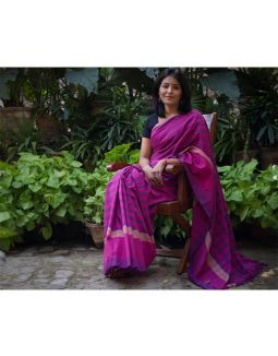 Check Pattern Pink and Purple Saree