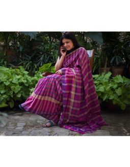 Purple and Pink Cotton Saree