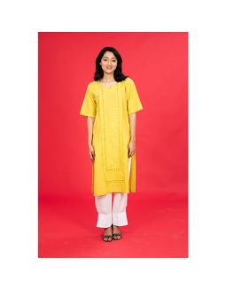 Yellow Mangalgiri Embroidered Kurta