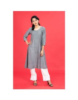 Grey Mangalgiri Embroidered Kurta