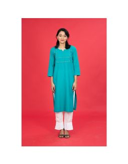 Green Mangalgiri Embroidered Kurta
