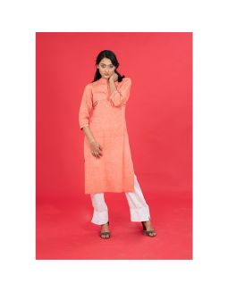 Peach Mangalgiri Embroidered Kurta