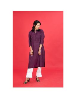 Purple Straight Embroidered Kurta