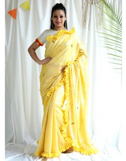 Yellow Shimmer Saree with Blouse