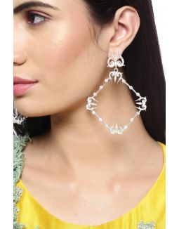 Silver Trident Hoops