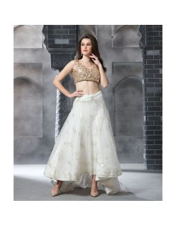 Peach Sequence Crop Top with Ivory Skirt