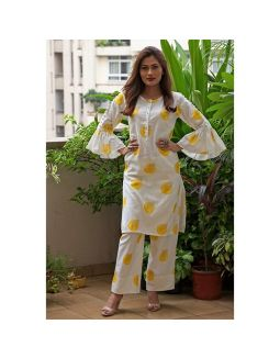White and Yellow Kurta Palazzo Set