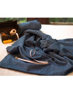 Handwoven Cotton Indigo Stripes Fabric