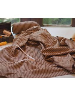 Handwoven Cotton Brown Stripes Fabric