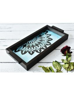 Blue Wooden Mandala Pattern Tray