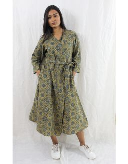 Green Ajrakh Block Print Wrap Dress