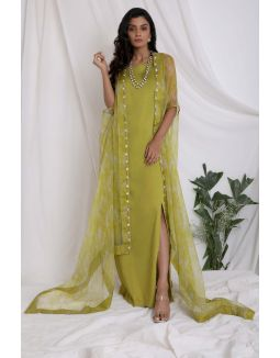 Green Printed Sheer Cape And Slit Dress