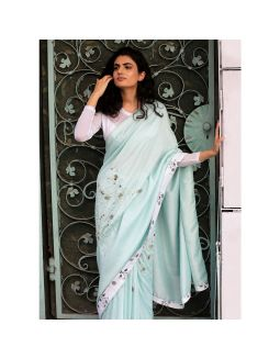 Blue Pearl Embroidered Saree