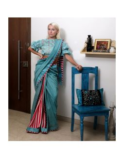 Blue Saree with Red Printed Stripe