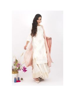 White and Pink Sharara Set