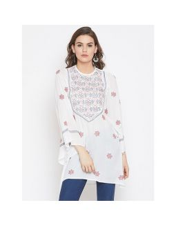White Chikan Embroidered Top