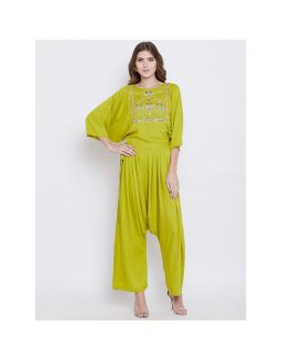 Green Embroidered Top and Pants