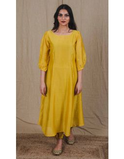 Mustard Chanderi Flared Kurta