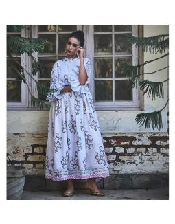 White Floral Hand Block Printed Dress