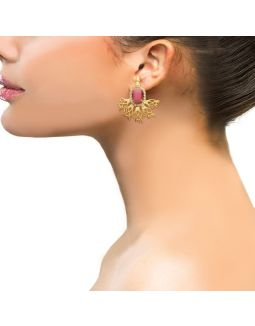 Unique Pink Stone Gold Earrings
