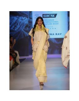 Yellow Linen Embroidered Saree with Pockets