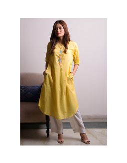 Yellow White Kurta Pants Set