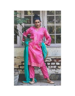 Pink Golden Printed Kurta Pants Set
