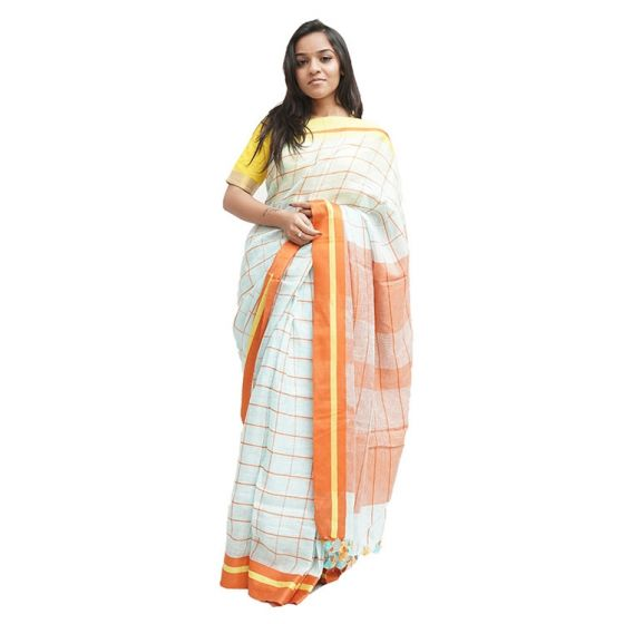 Ice Blue and Orange Checked Saree