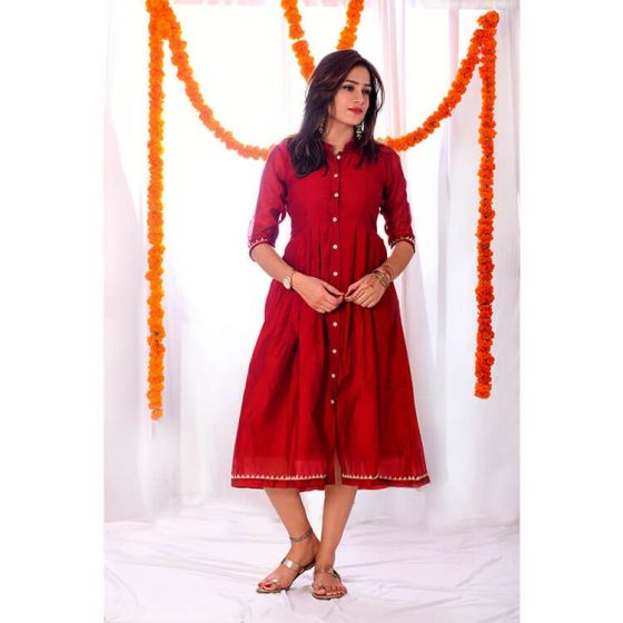 Red Pleated Tunic Dress