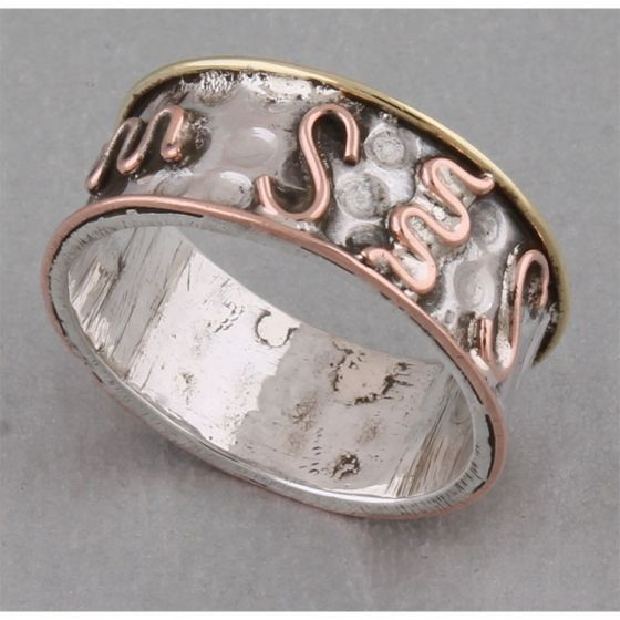 Copper and Silver Thumb Ring