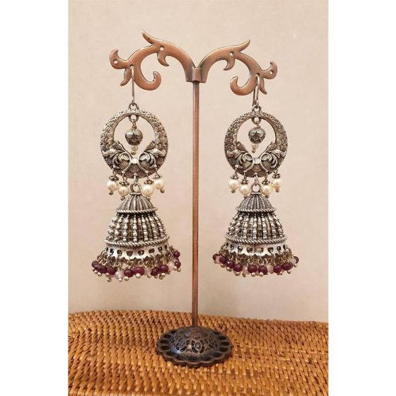 Long Oxidised Silver Jhumkas