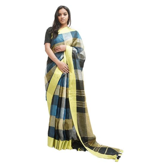 Blue and Black Checked Saree