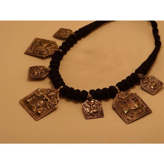 Silver Ethnic God Necklace