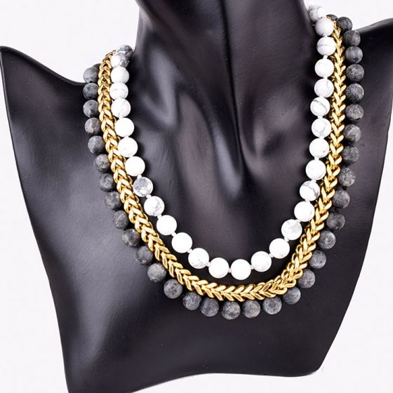 White and Grey Gold Plated Stone Necklace