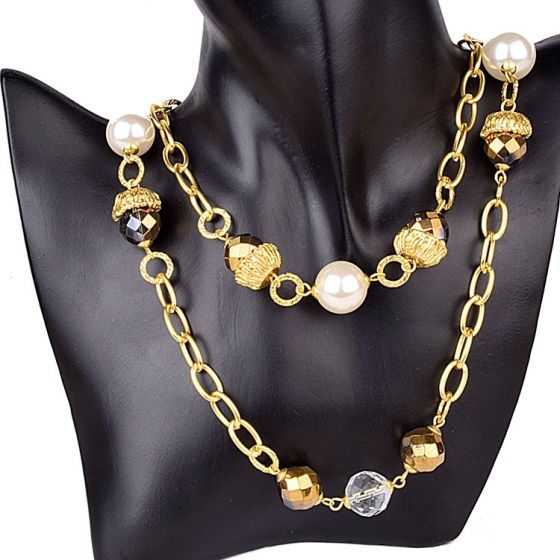 Two Layered Gold Plated Stone Necklace