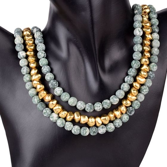 Green and Gold Stone Necklace
